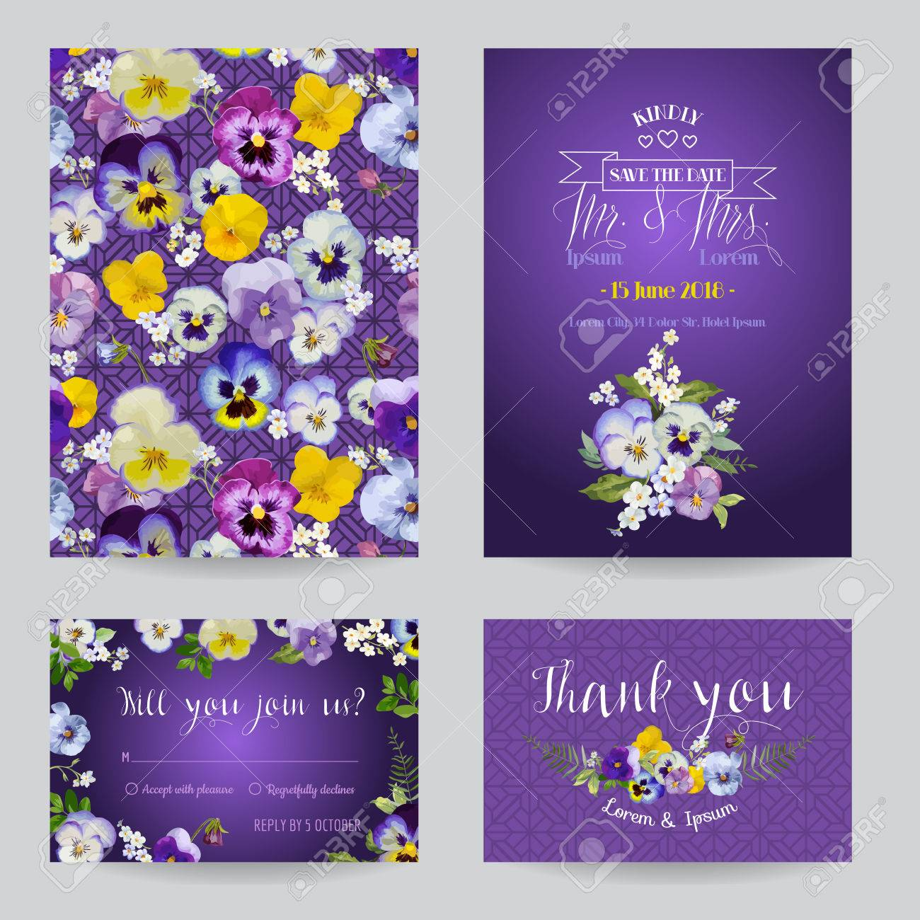 Save the Date - Wedding Invitation or Congratulation Card Set - Flower Pansy Theme - in vector - 51722795