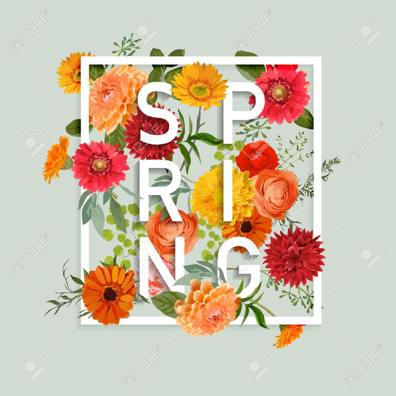 Floral Spring Graphic Design With Colorful Flowers For T Shirt