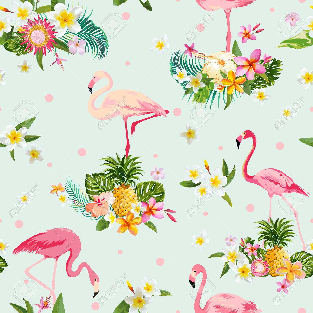 Flamingo Bird and Tropical Flowers Background - Retro seamless pattern - in vector - 52506534