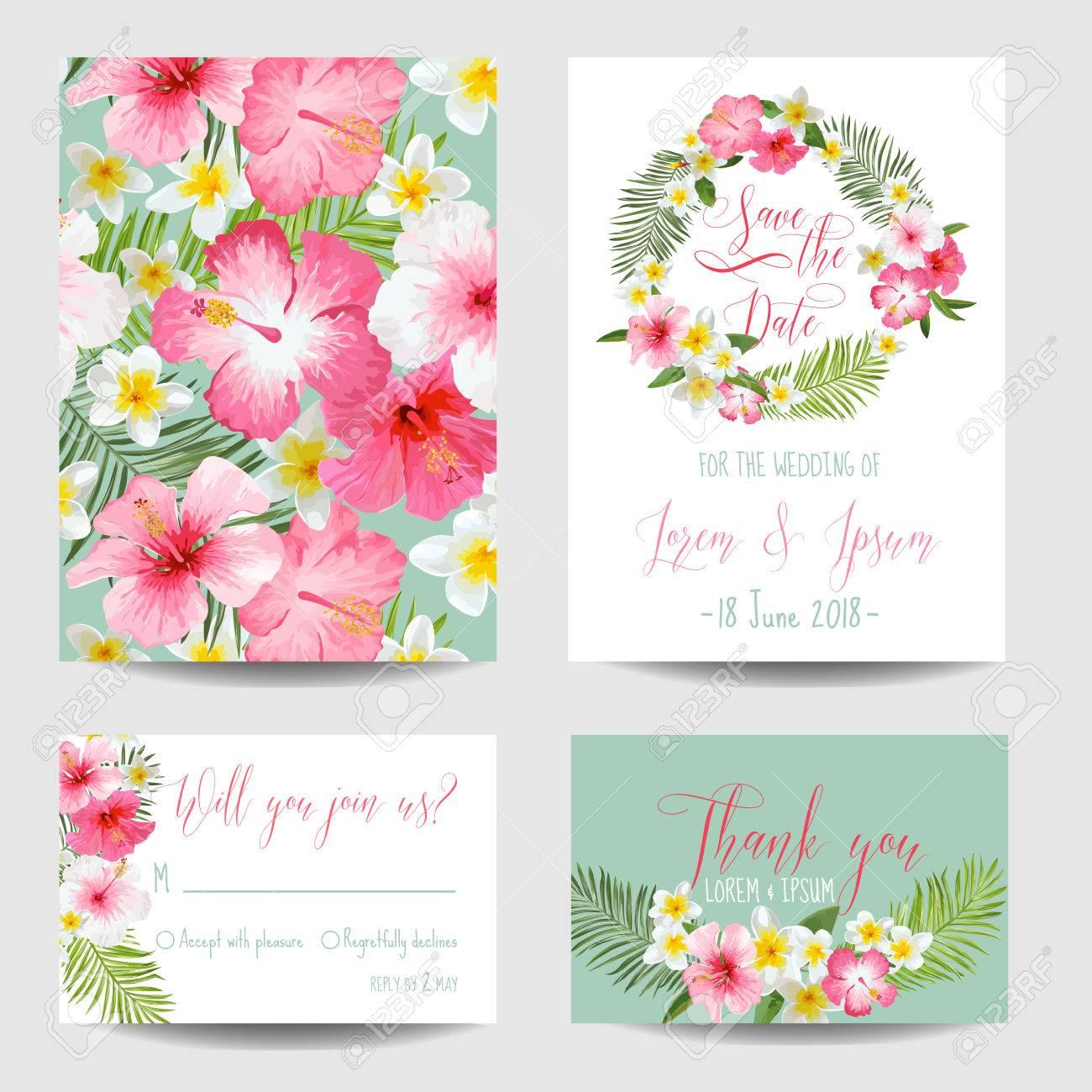 Speichern Sie Die Datums Karte   Tropische Blumen   Für Hochzeit, Einladung,  Party