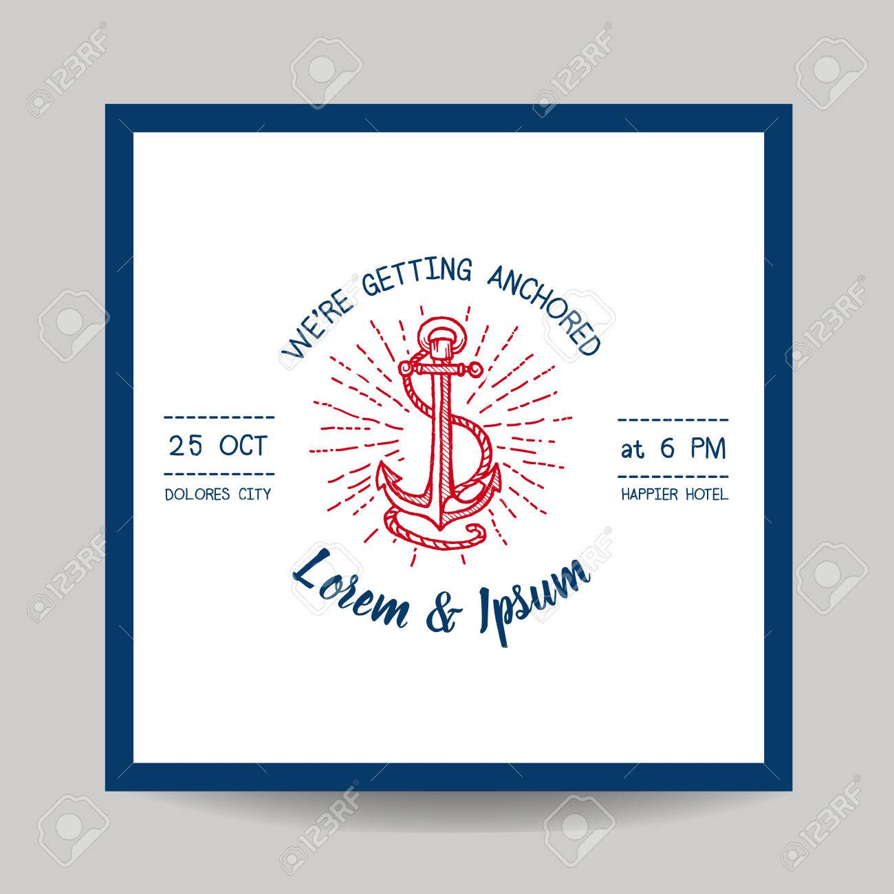 Wedding Invitation Card - Save The Date - Marine Anchor Theme ...