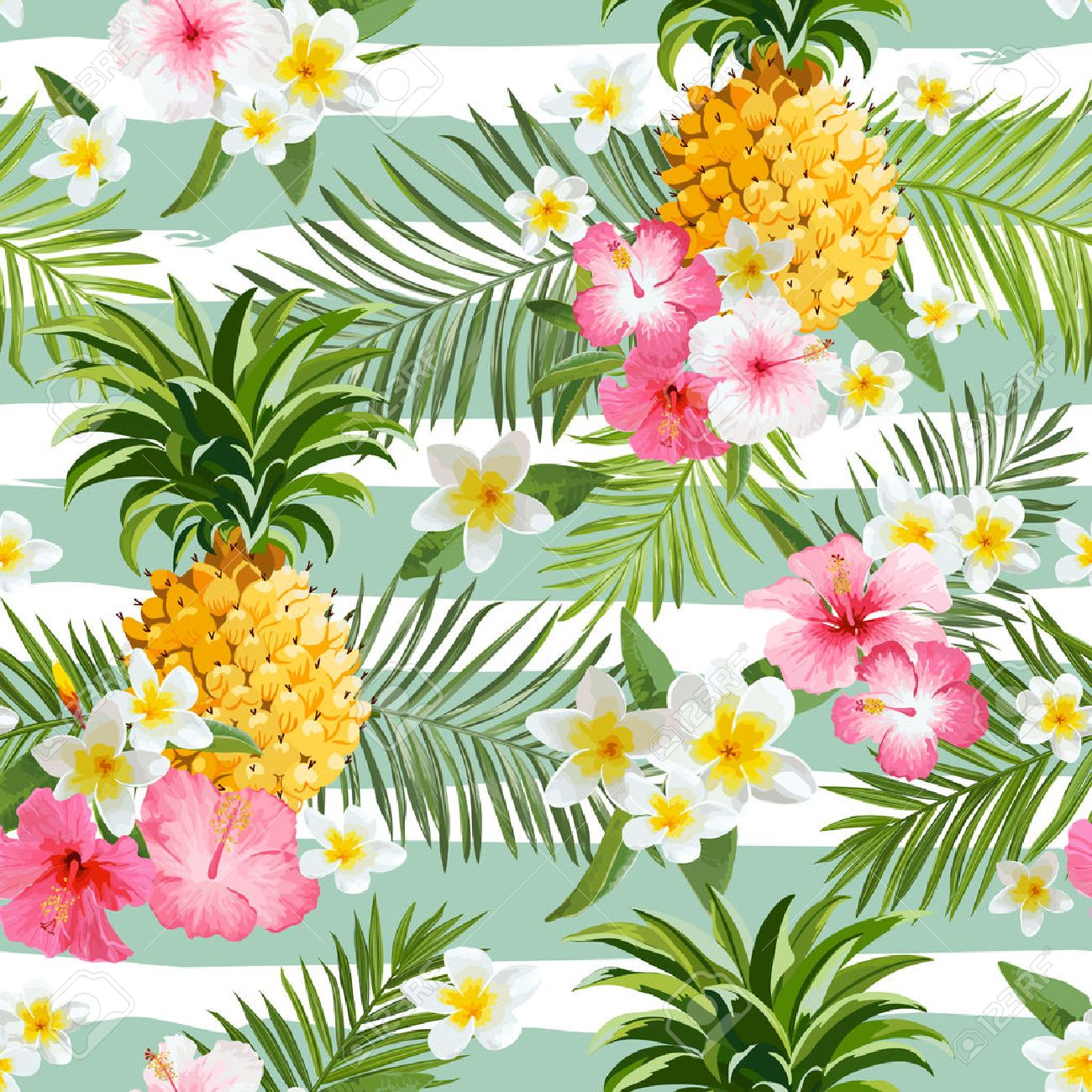 Pineapples and Tropical Flowers Geometry Background - Vintage Seamless Pattern - 53446383