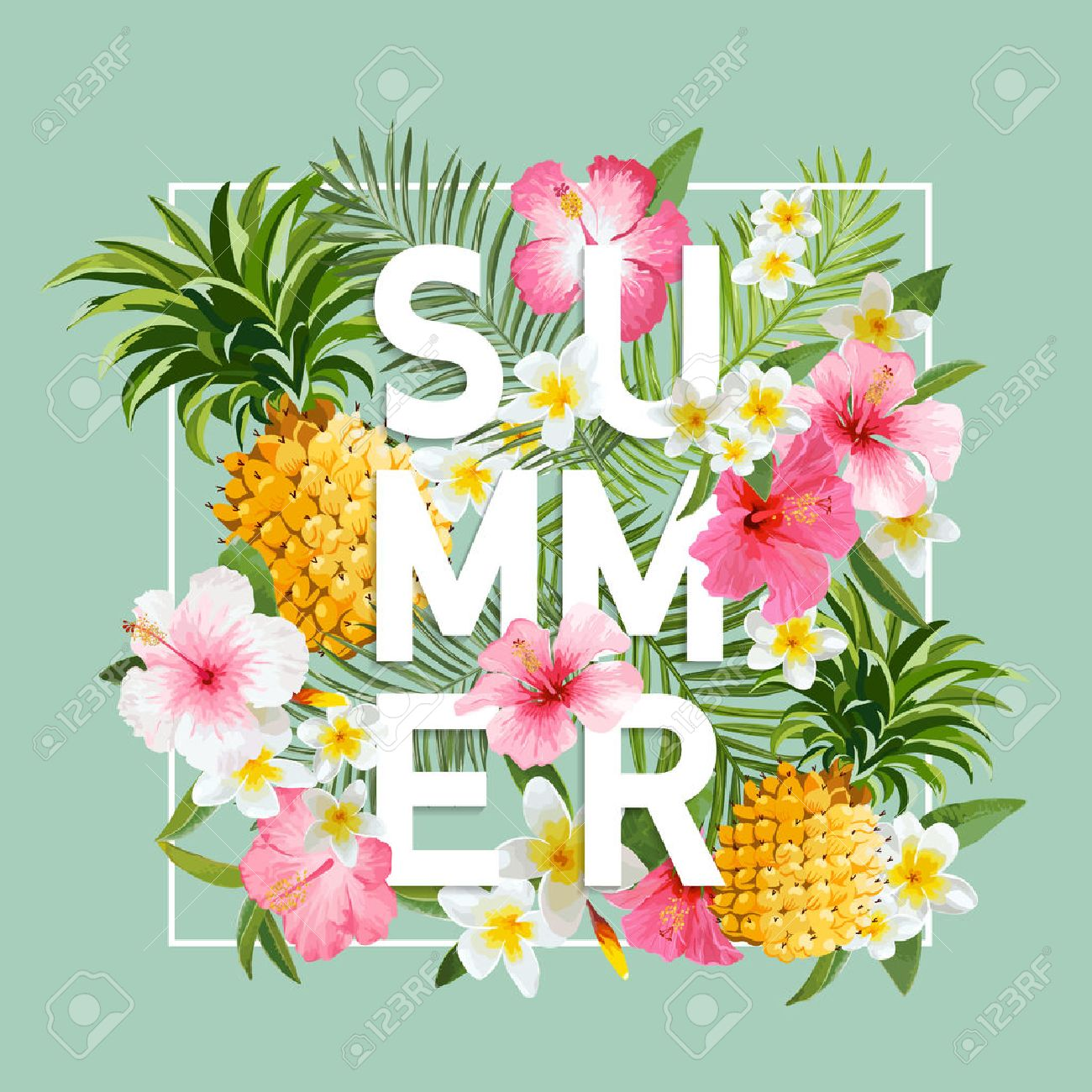 Tropical Flowers and Leaves Background. Summer Design. Vector. T-shirt Fashion Graphic. Exotic Background. - 54146525