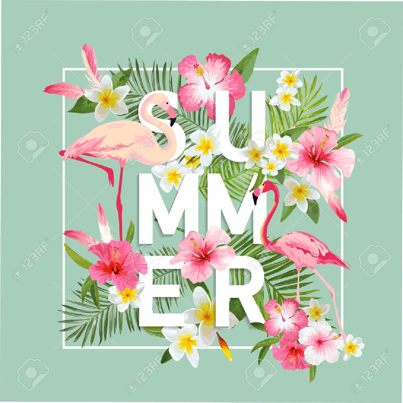 Tropical Flowers Background. Summer Design. Vector. Flamingo Background. T-shirt Fashion Graphic. Exotic Background. - 54146531