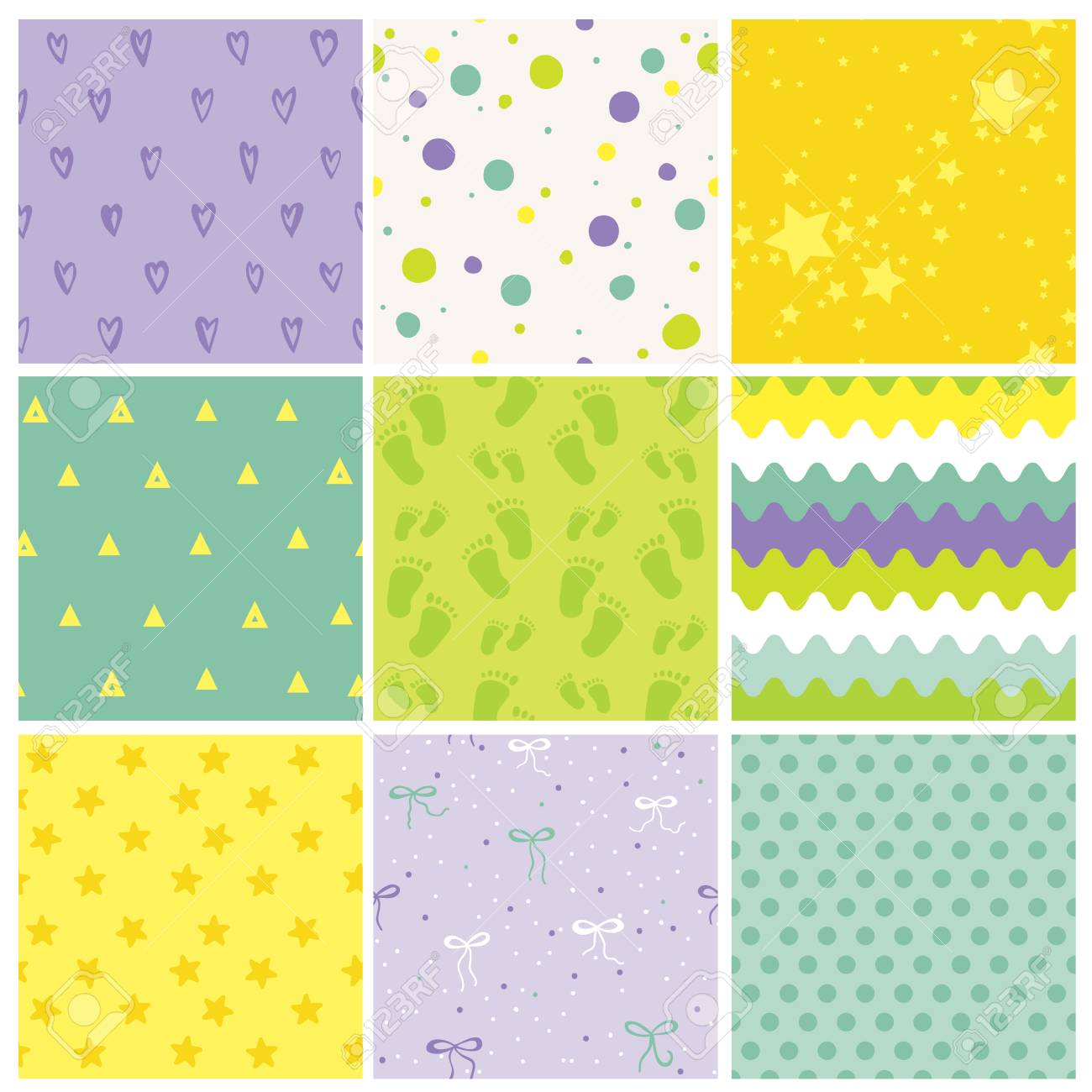 9 Seamless Baby Patterns. Baby Texture. Wallpaper. Vector Background. Geometric Patterns. - 54146553