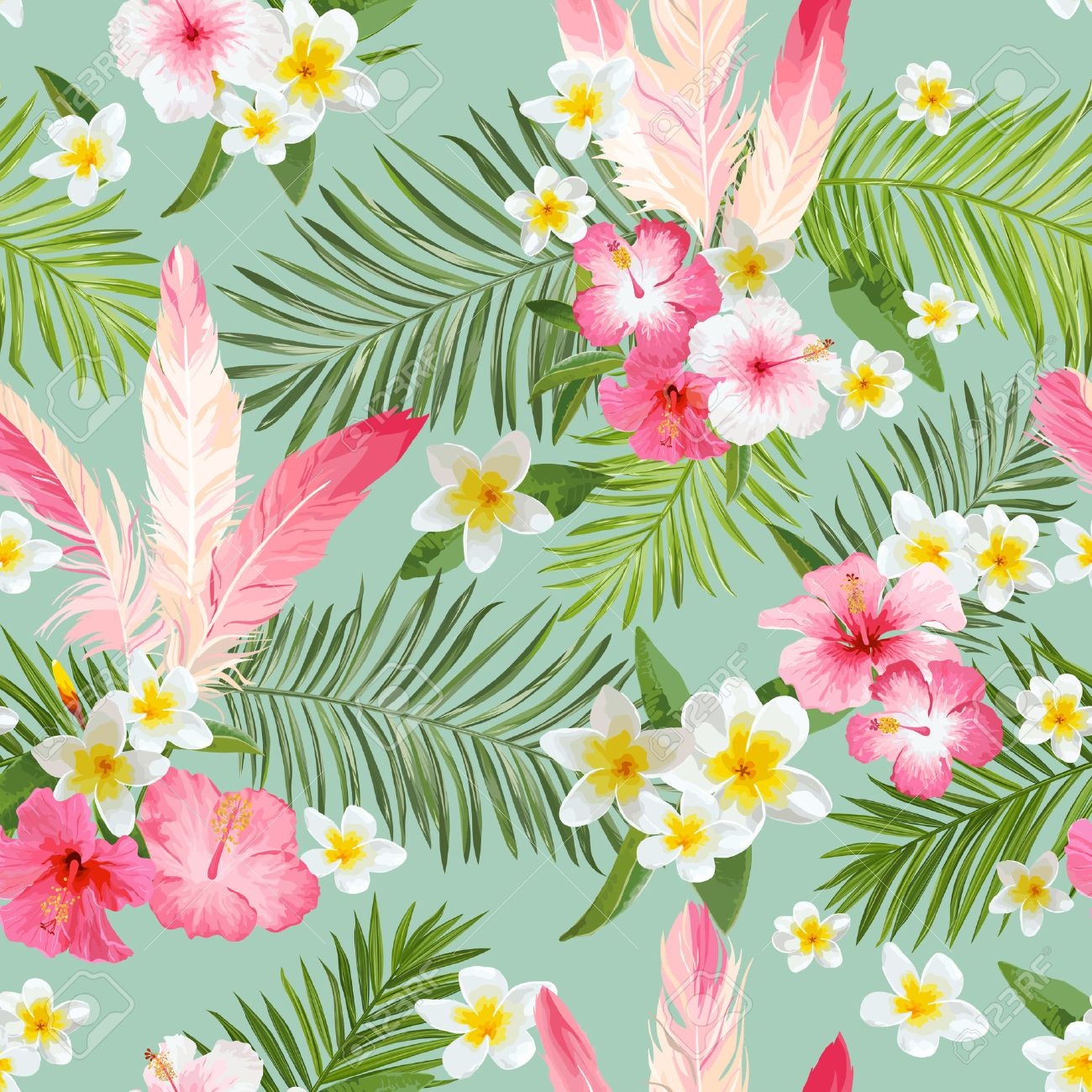 Tropical Flowers Background Vintage Seamless Pattern Vector