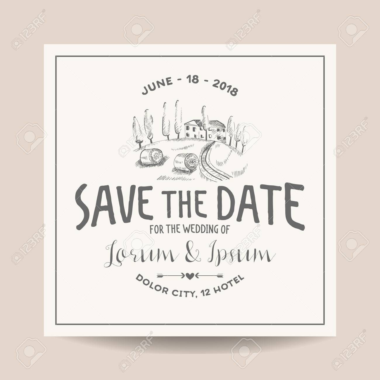 Wedding invitation card save the date wedding card french wedding invitation card save the date wedding card french farm theme vineyard stopboris Images