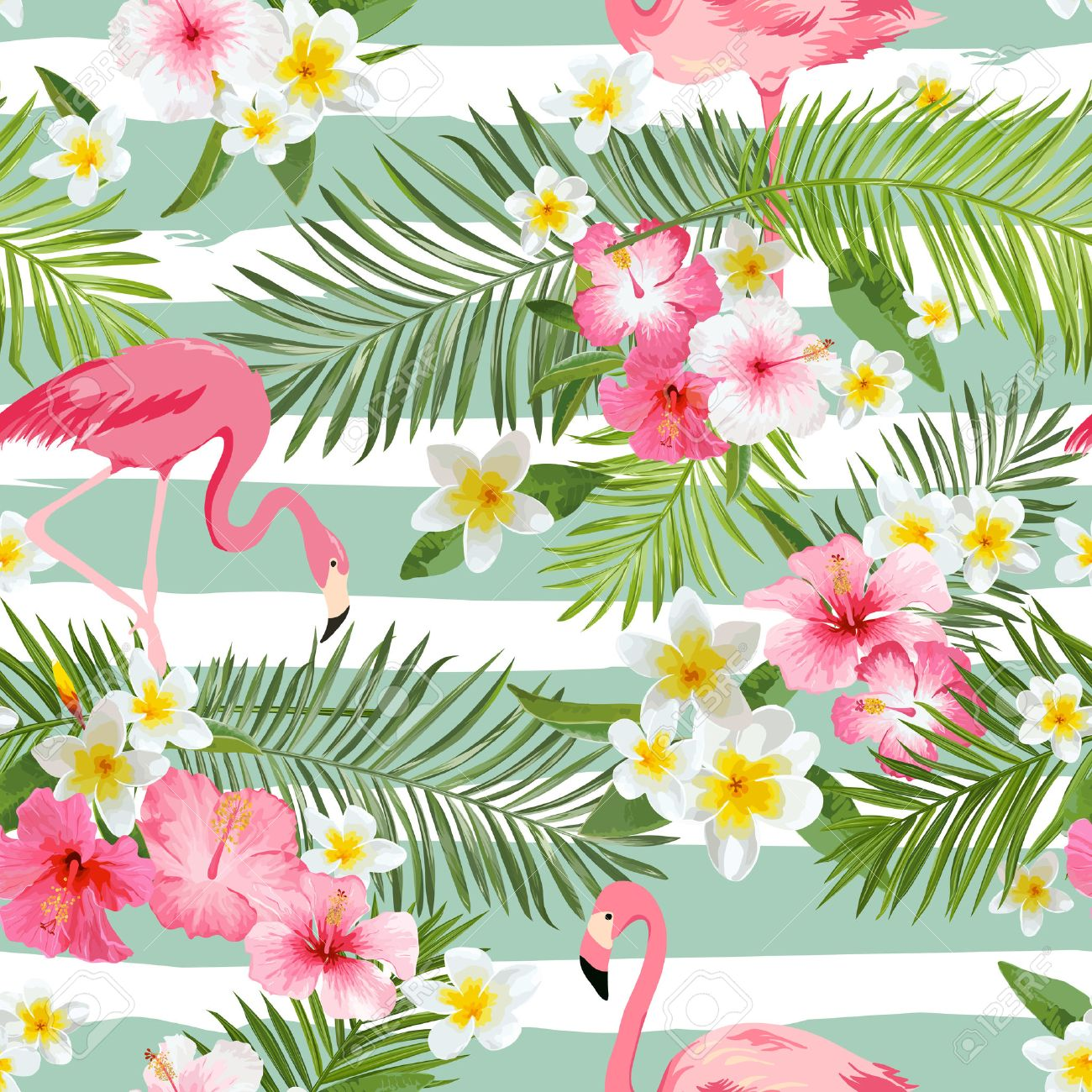 Flamingo Background. Tropical Flowers Background. Vintage Seamless Pattern. Vector Background. - 54616819