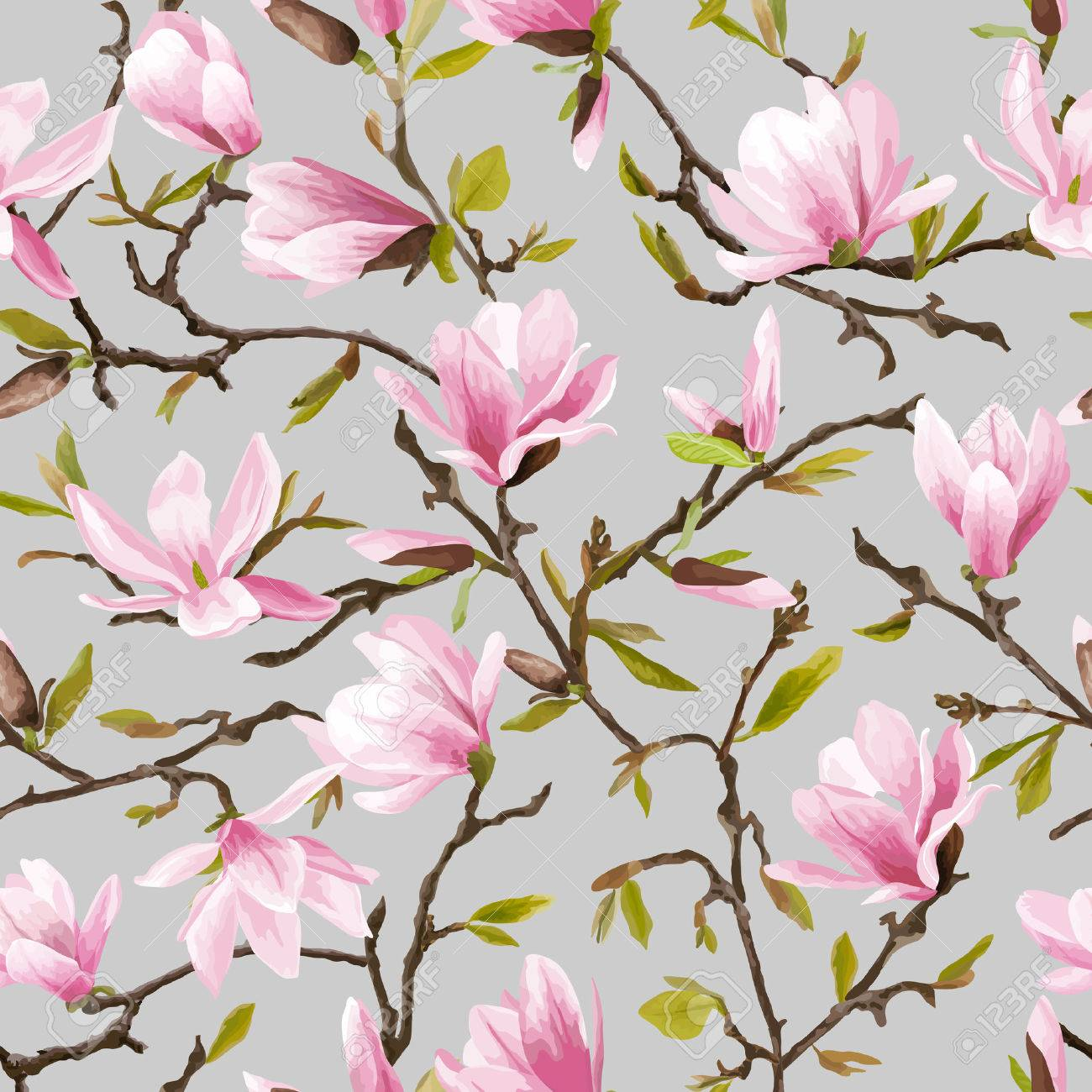 Seamless Floral Pattern Magnolia Flowers And Leaves Background