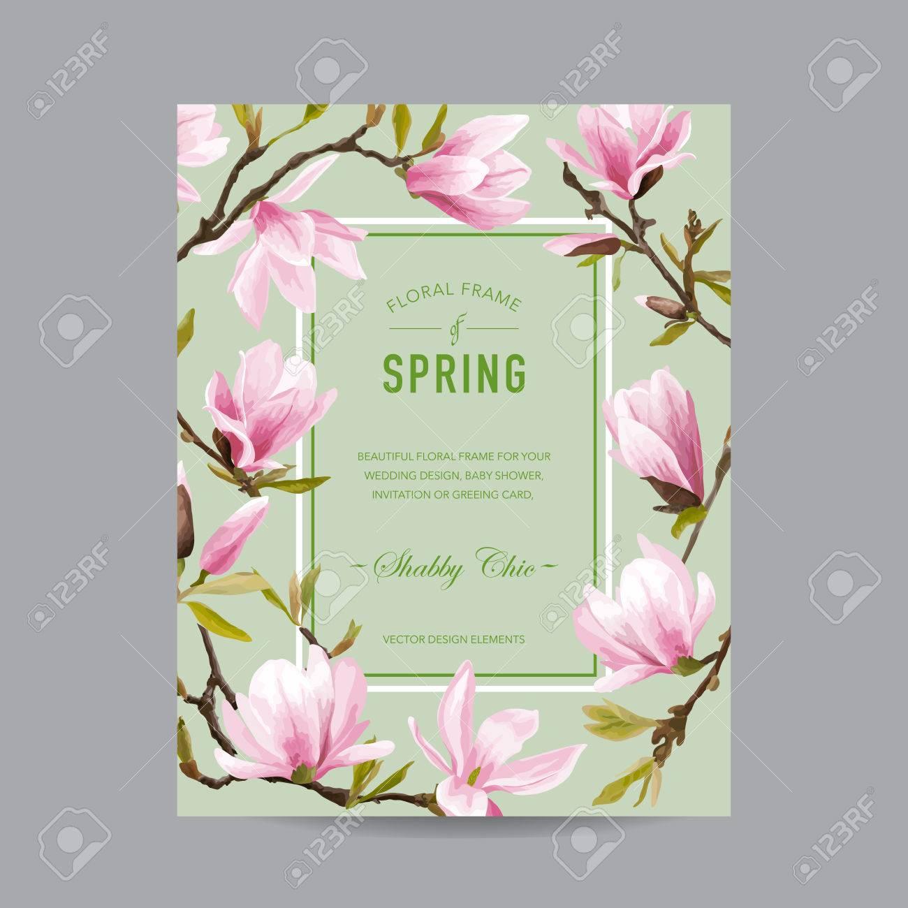 Weinlese Mit Blumen Bunte Frame   Für Einladung, Hochzeit, Baby Dusche Karte
