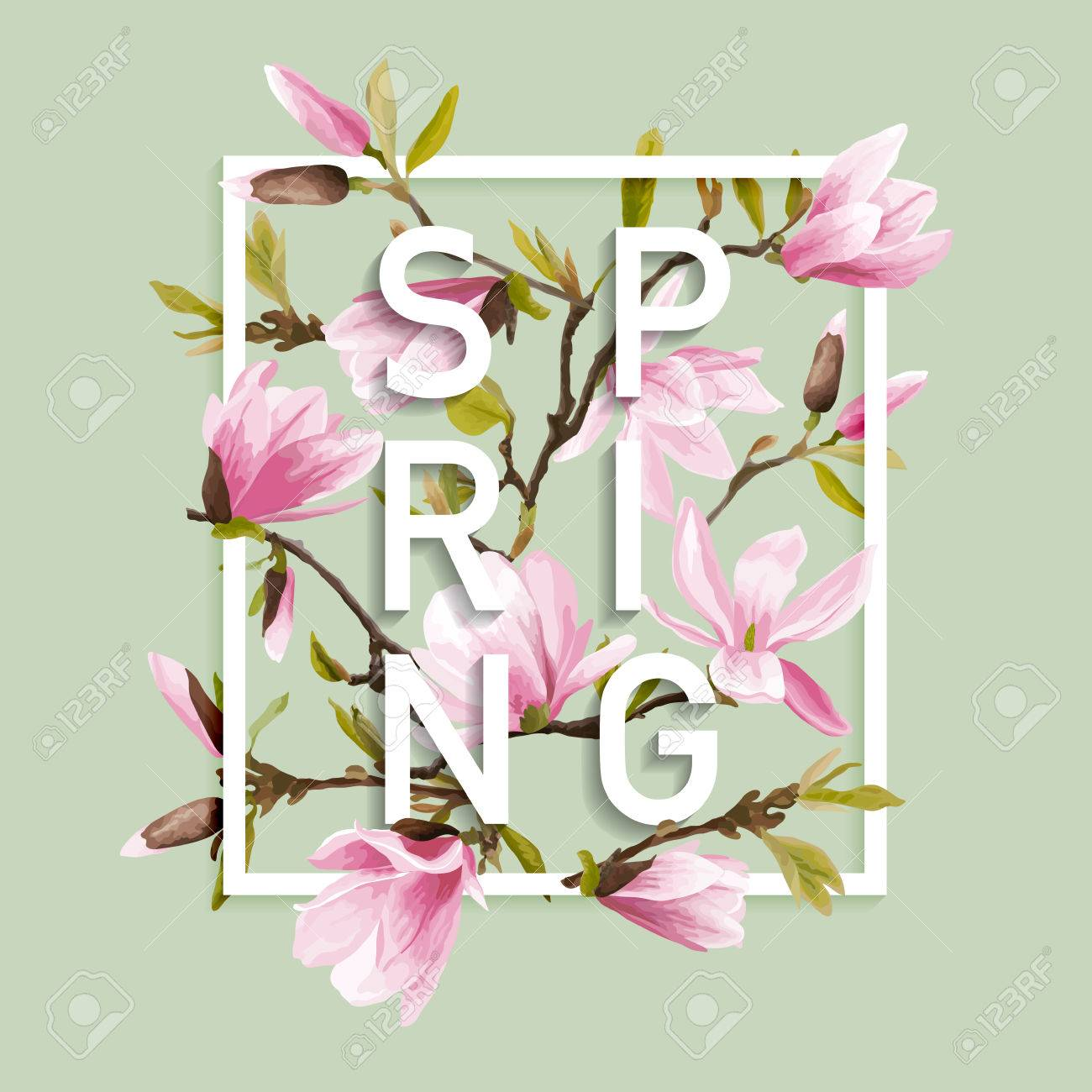 Floral Spring Graphic Design With Magnolia Flowers For T Shirt