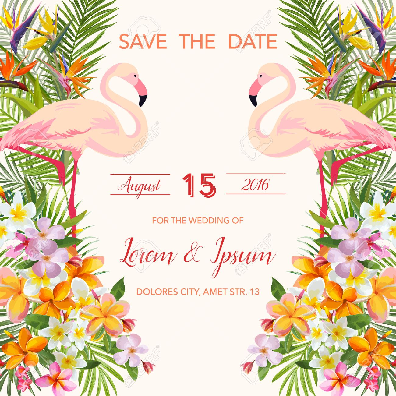 save the date wedding card tropical flowers flamingo bird