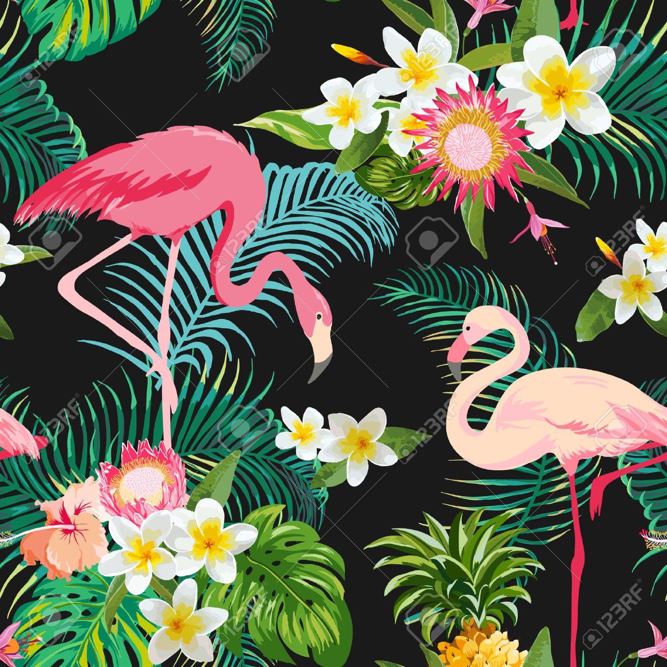 Tropische Blumen Und Vögel Hintergrund. Jahrgang Nahtlose Muster ...