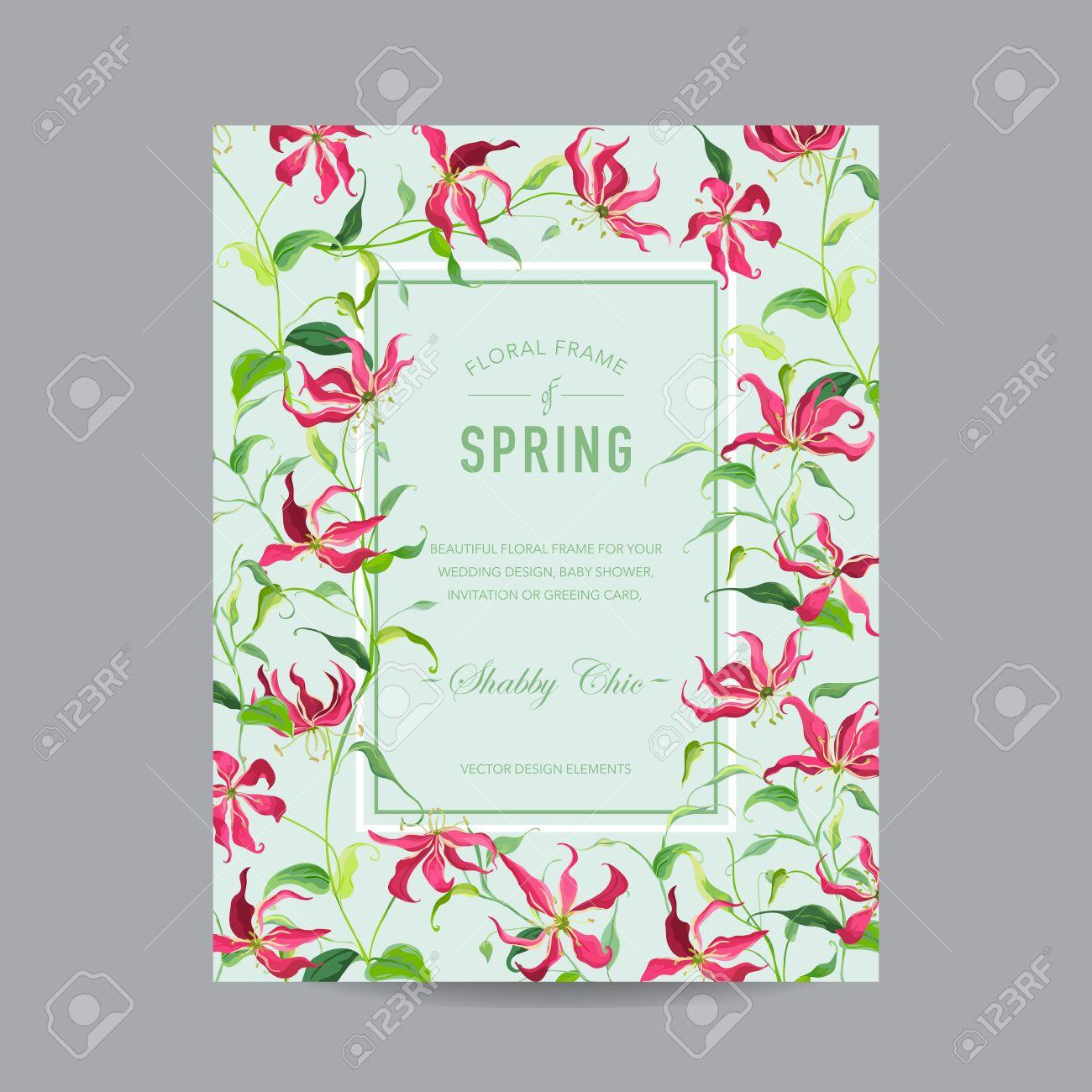 Standard Bild   Tropische Blumen Bunte Rahmen   Für Einladung, Hochzeit,  Baby Dusche Karte   In Vektor