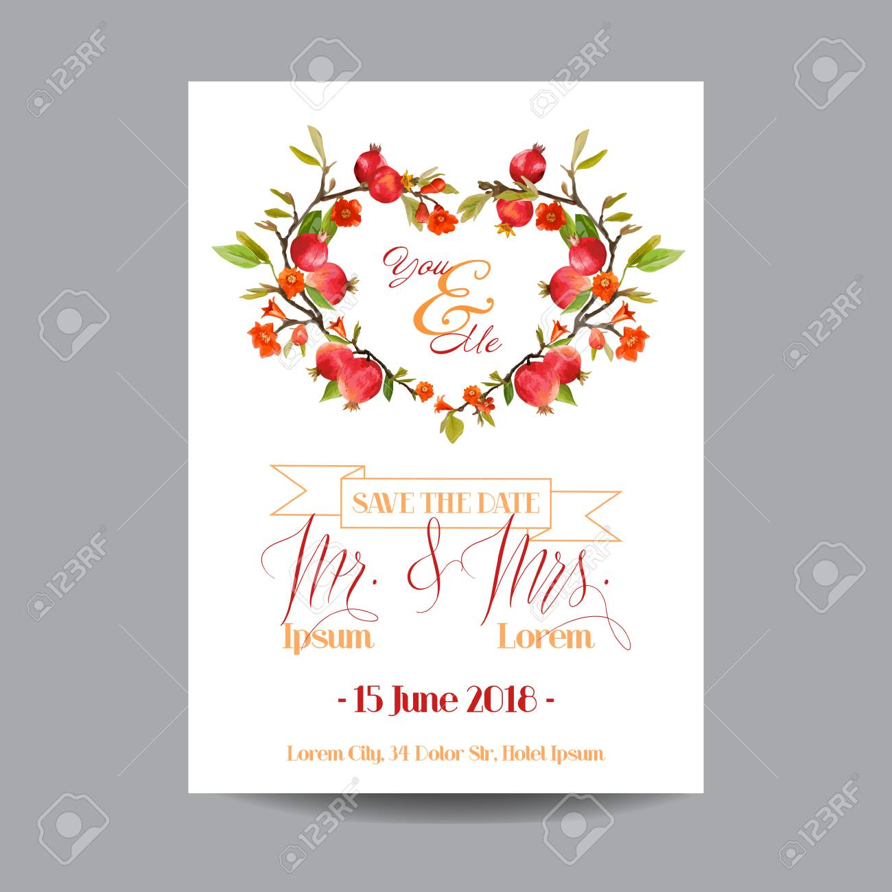 Save The Date. Wedding Card. Tropical Flowers And Pomegranates ...