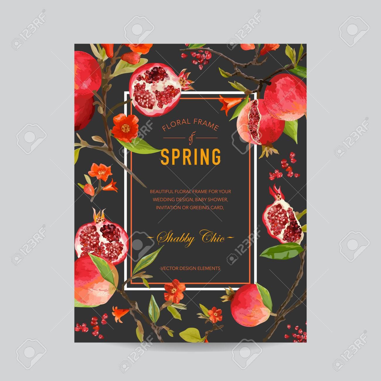 Tropical Granatapfel Und Blumen Bunte Rahmen   Für Einladung, Hochzeit,  Baby Dusche