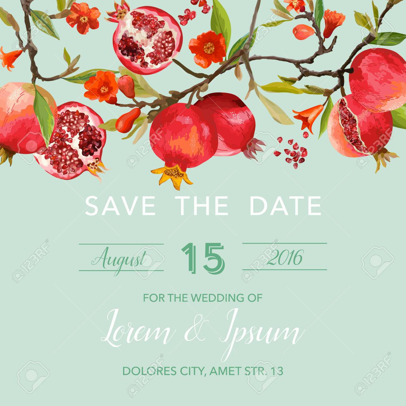 Wedding Invitation Card - With Pomegranates And Flowers Background ...