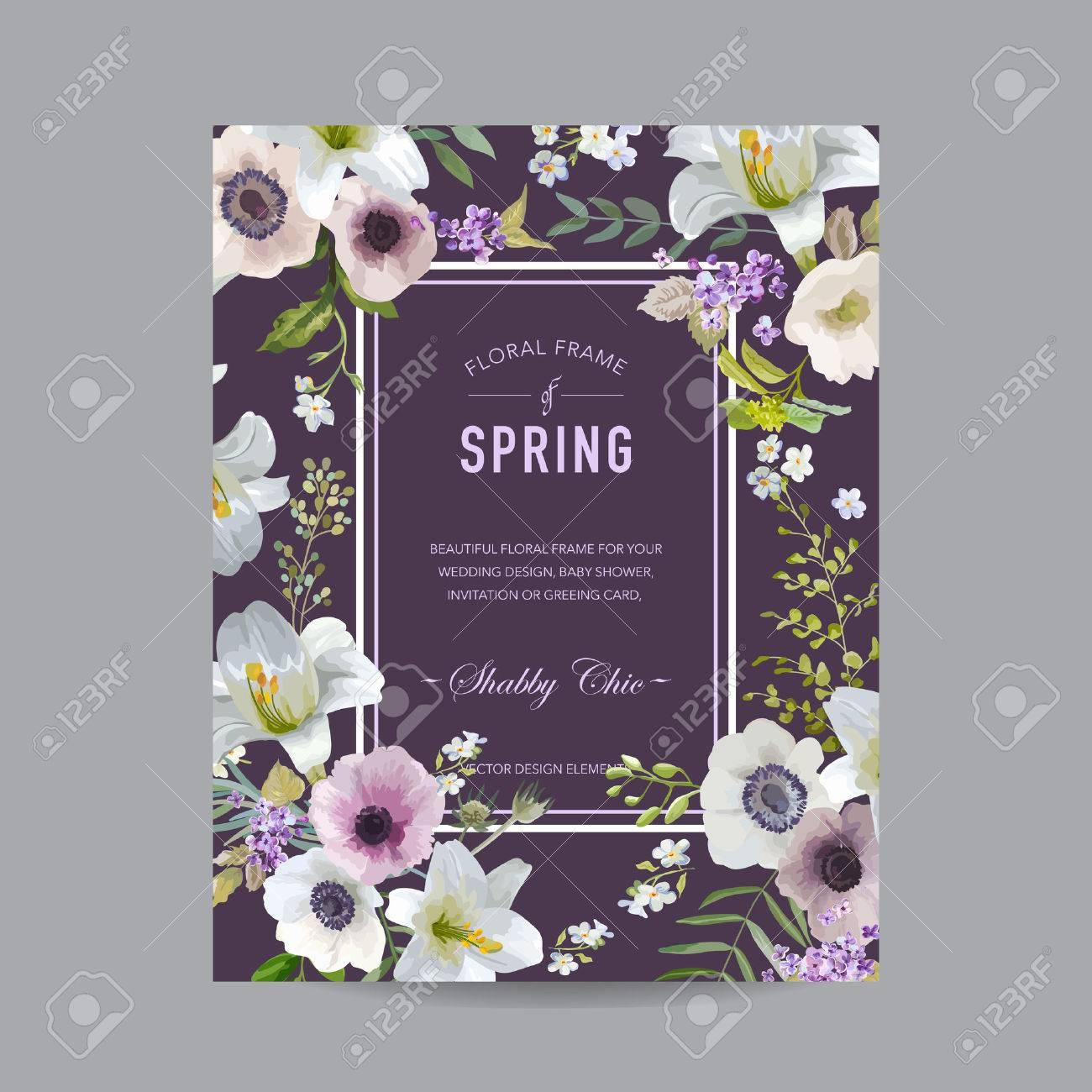 Toll Vintage Blumen Bunte Frame   Lilien Und Anemonen   Für Einladung, Hochzeit,  Baby