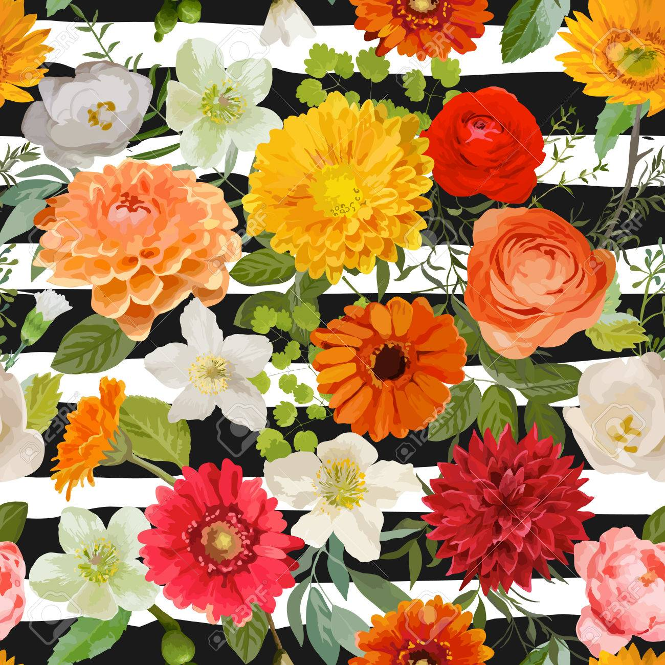 Floral Seamless Pattern Summer And Autumn Flowers Background