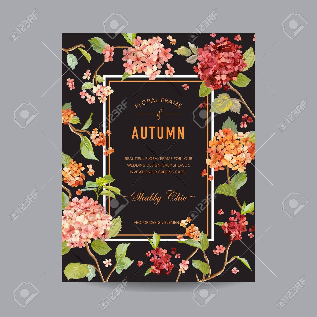 Vintage Rahmen Herbst Hortensia Blumen Fur Einladung Hochzeit