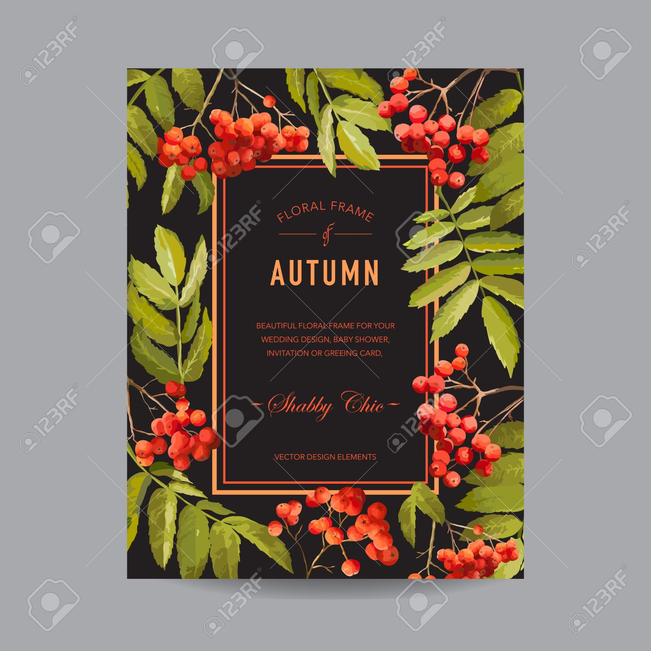 Vintage floral frame autumn rowan berries for invitation imagens vintage floral frame autumn rowan berries for invitation wedding baby shower card in vector stopboris Images