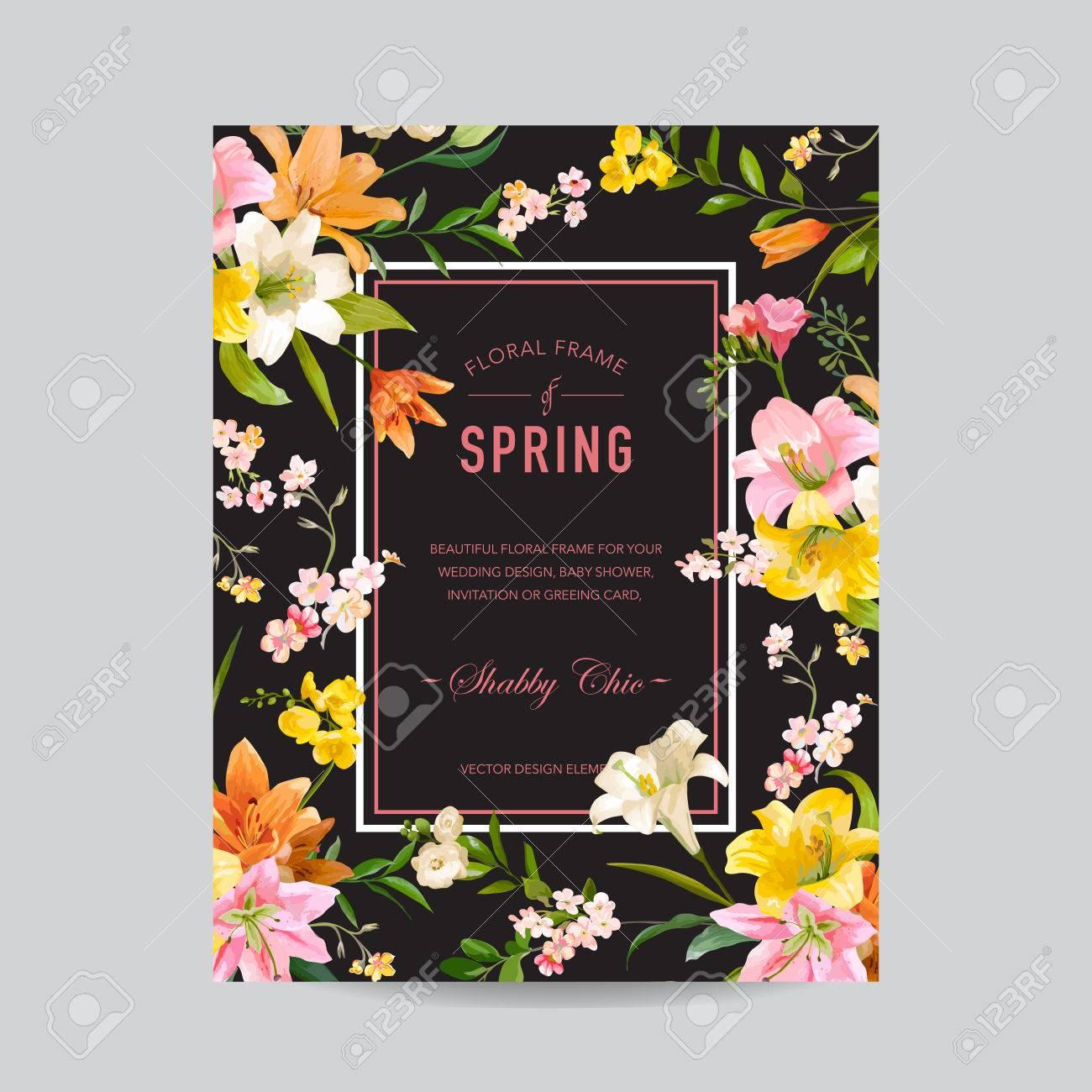 Vintage Blumen Bunte Frame Aquarell Lilien Blumen Fur Einladung