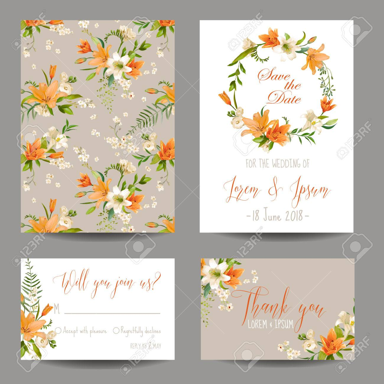 save the date card wedding invitation set autumn lily floral