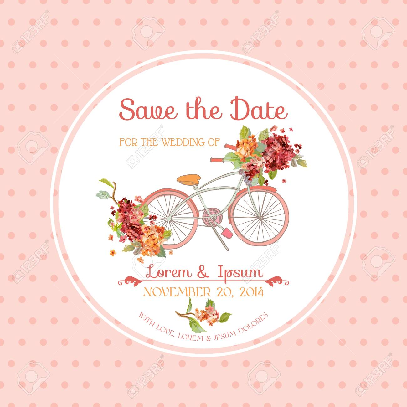Invitation or Congratulation Card - for Wedding, Baby Shower - Vintage Hortensia Floral Theme - 64224051