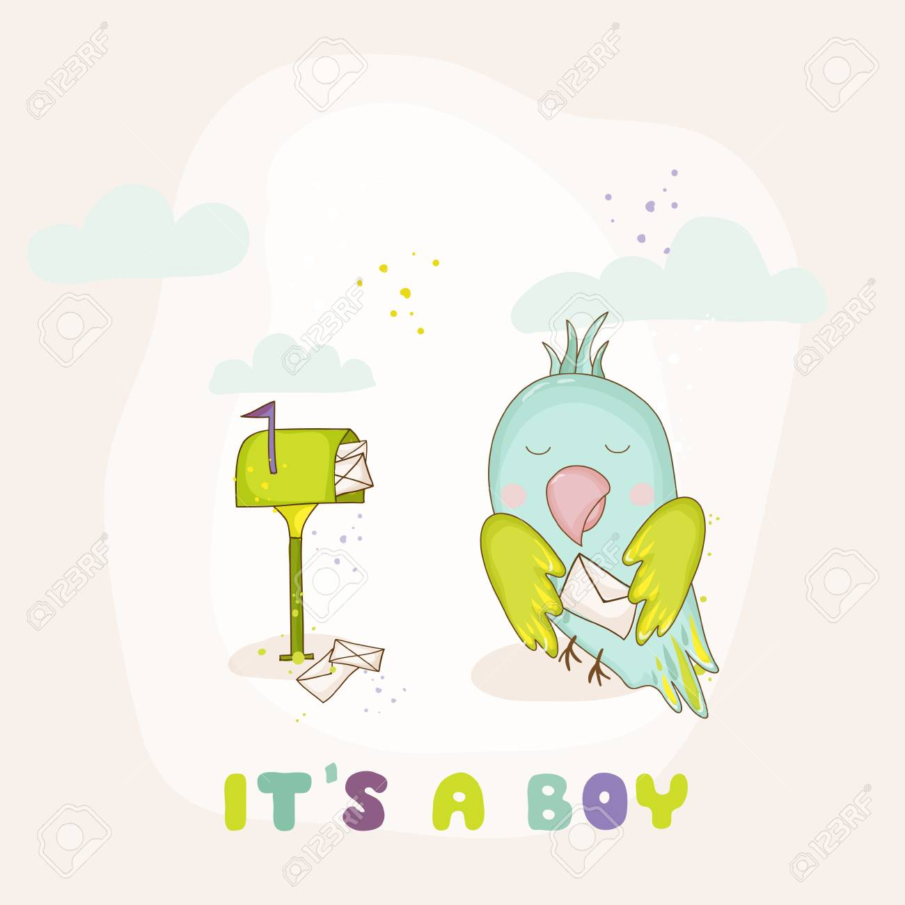 Cute Parrot With A Letter. Baby Shower Or Arrival Card In Vector