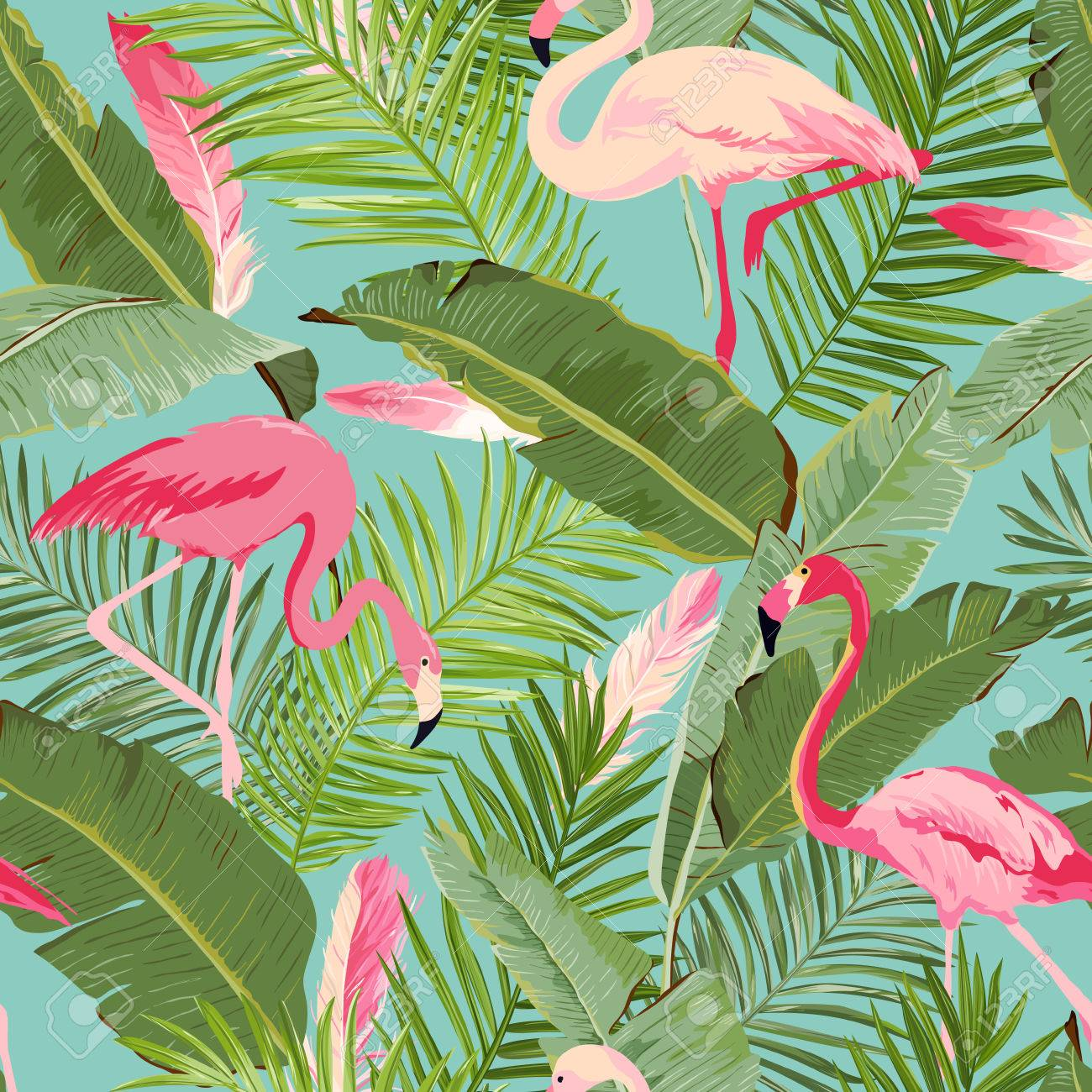 tropical pattern wallpaper  Tropical Seamless Vector Flamingo And Floral Summer Pattern ...