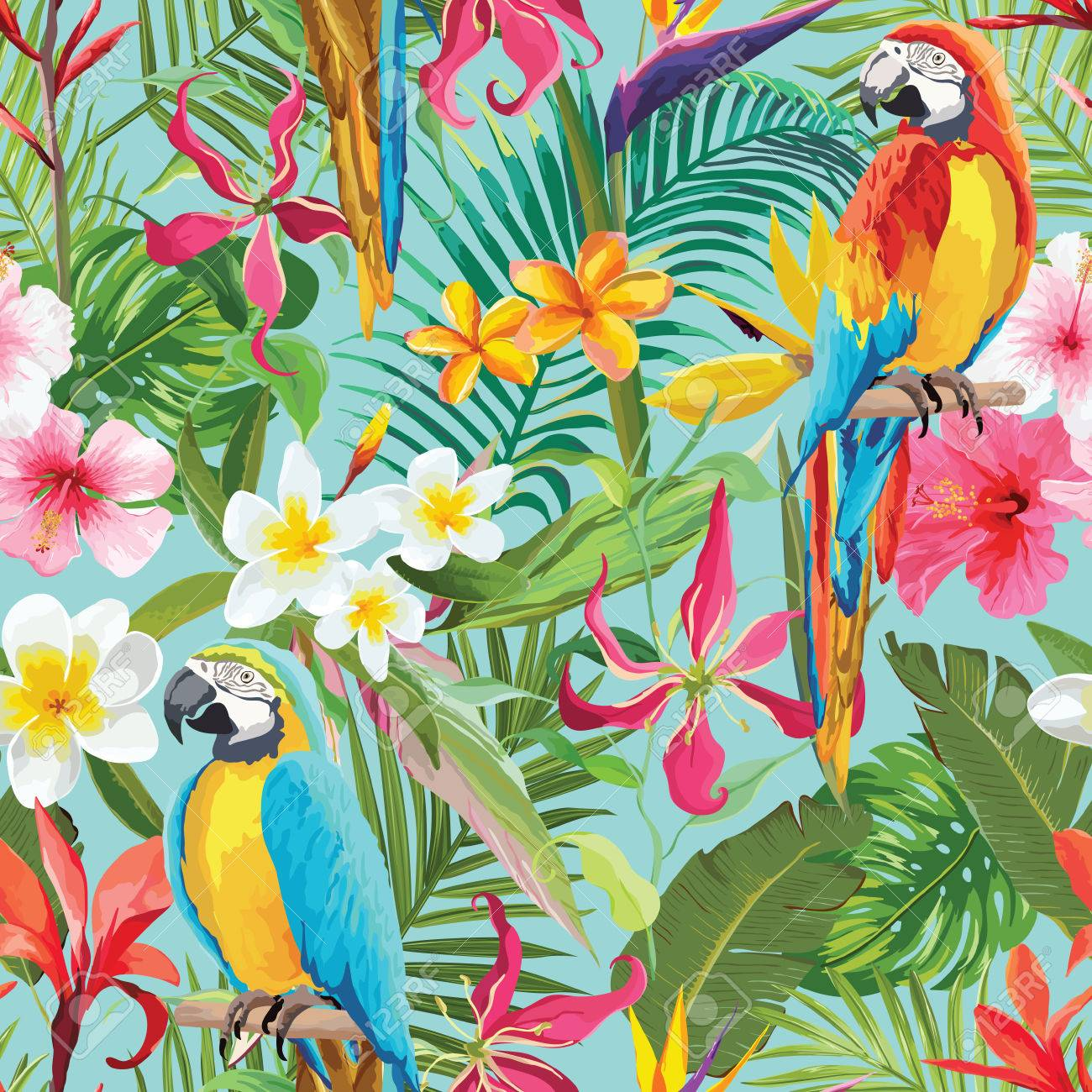 Tropical Flowers And Parrots Seamless Vector Floral Summer Pattern Royalty Free Cliparts Vectors And Stock Illustration Image 82660663