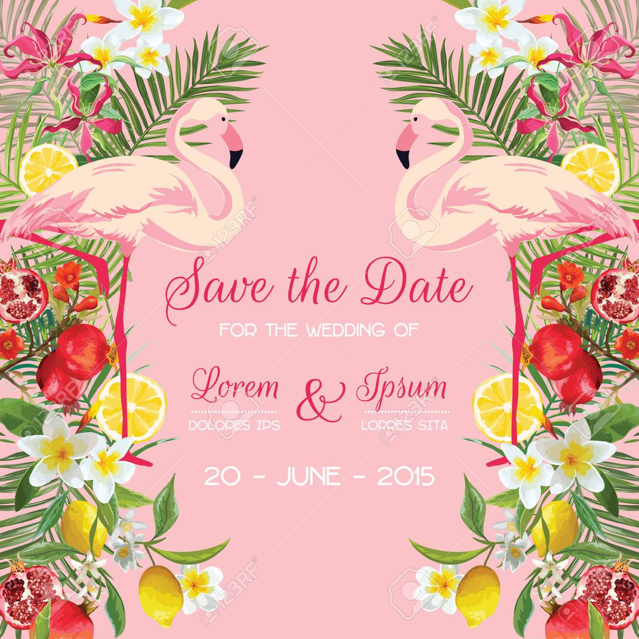 Save the Date Wedding Card with Tropical Flowers, Fruits, Flamingo Bird. Floral Background in vector - 83062797