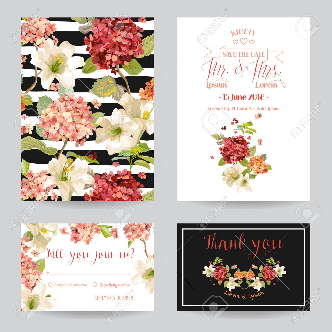 Autumn Vintage Hortensia Flowers Save The Date Card For Wedding ...