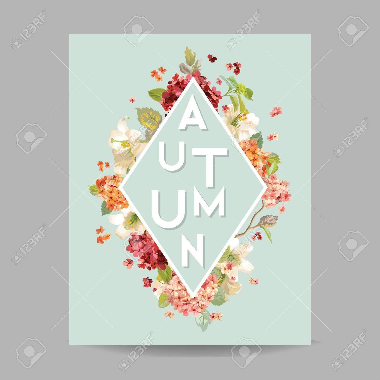 Weinlese Herbst Aquarell Hortensia Blumen Fur Einladung Hochzeit