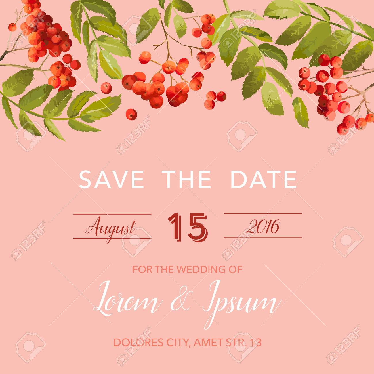 wedding invitation template floral save the date card with rowan