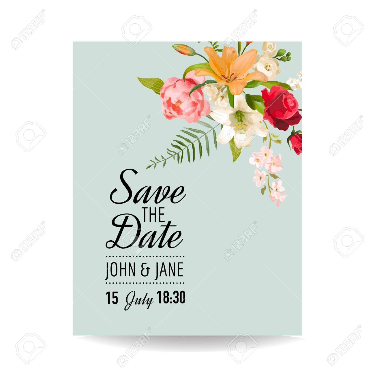 Save The Date Wedding Card With Watercolor Lily Flowers For