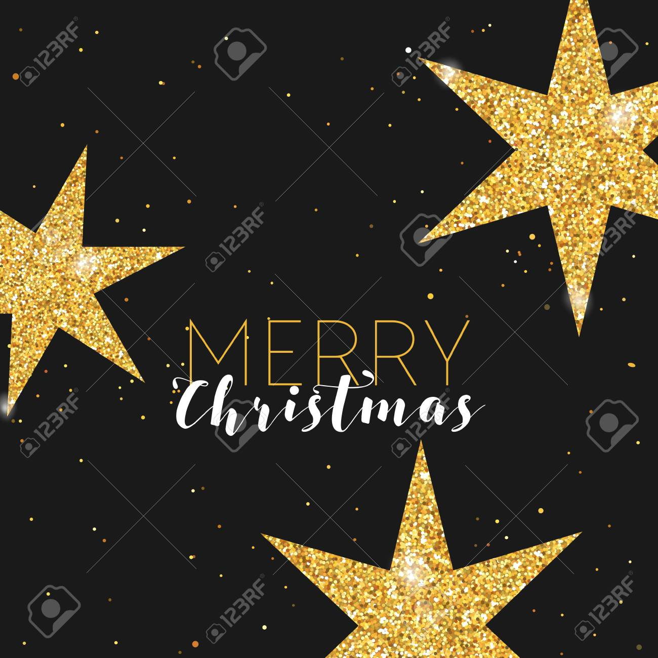 golden glitter christmas star greeting card for your invitation banner new year congratulation in