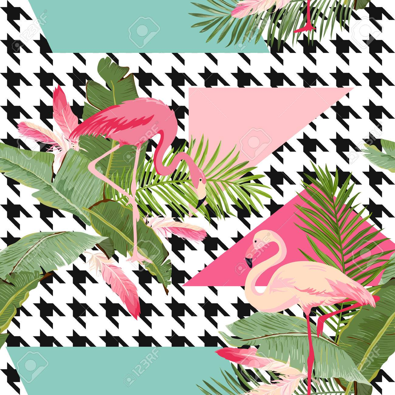 A Seamless Tropical Flowers And Flamingo Summer Geometric Pattern