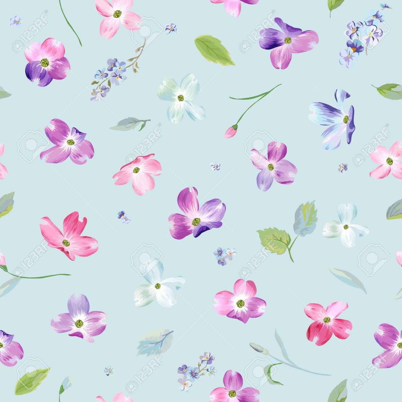Spring Flowers Seamless Pattern Watercolor Floral Background