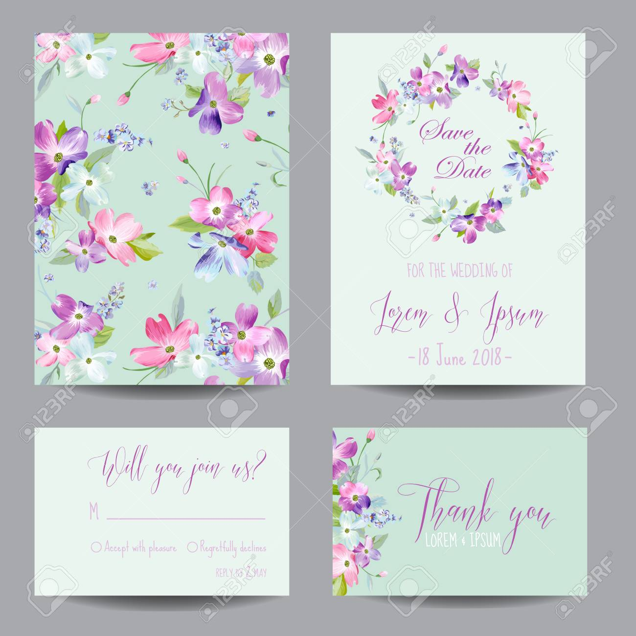 Save the date wedding invitation template with spring dogwood save the date wedding invitation template with spring dogwood flowers romantic floral greeting card set stopboris Image collections