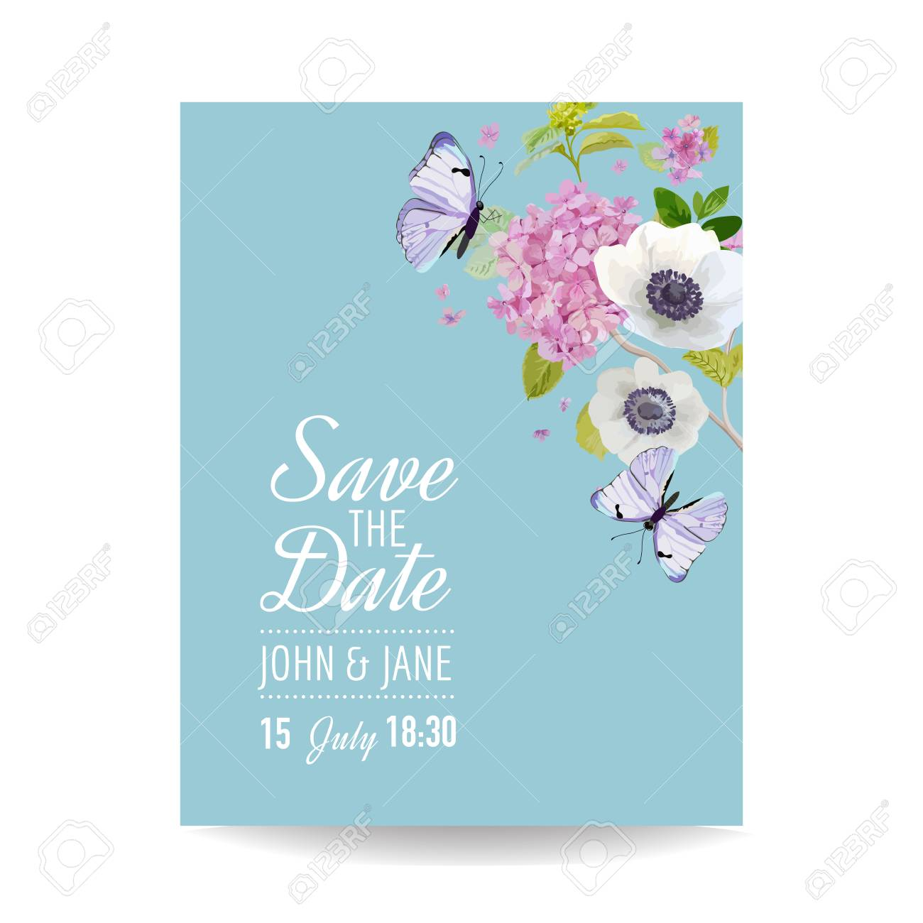 save the date card wedding invitation template botanical card