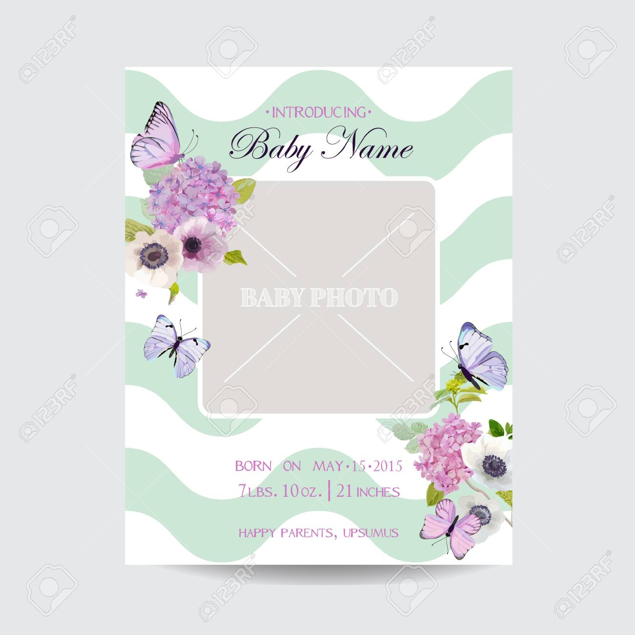 Baby shower invitation template with photo frame flowers and baby shower invitation template with photo frame flowers and butterflies floral wedding card design stopboris Images