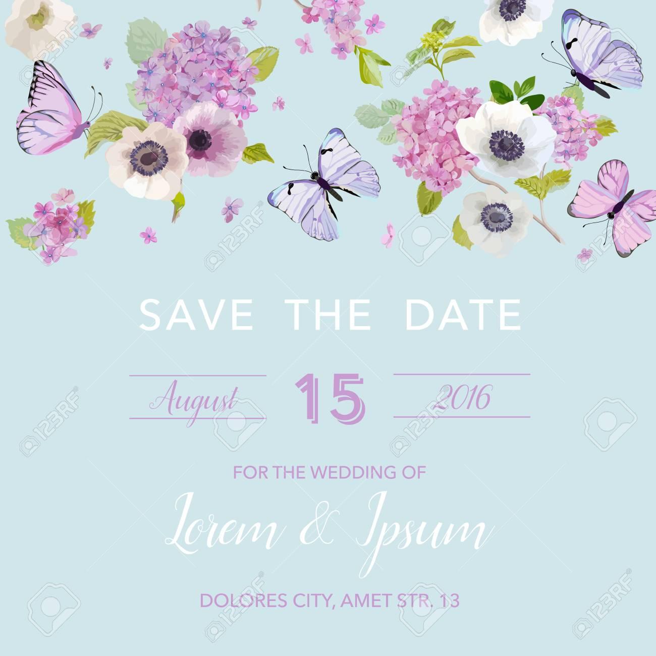 Plantilla De Invitación De Boda Tarjeta Botánica Con Flores De Mariposas Y Hortensia Saludo Floral Postal Ilustración Vectorial