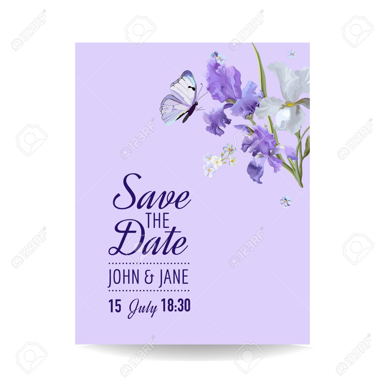 Save The Date Card With Flowers And Butterflies Floral Wedding