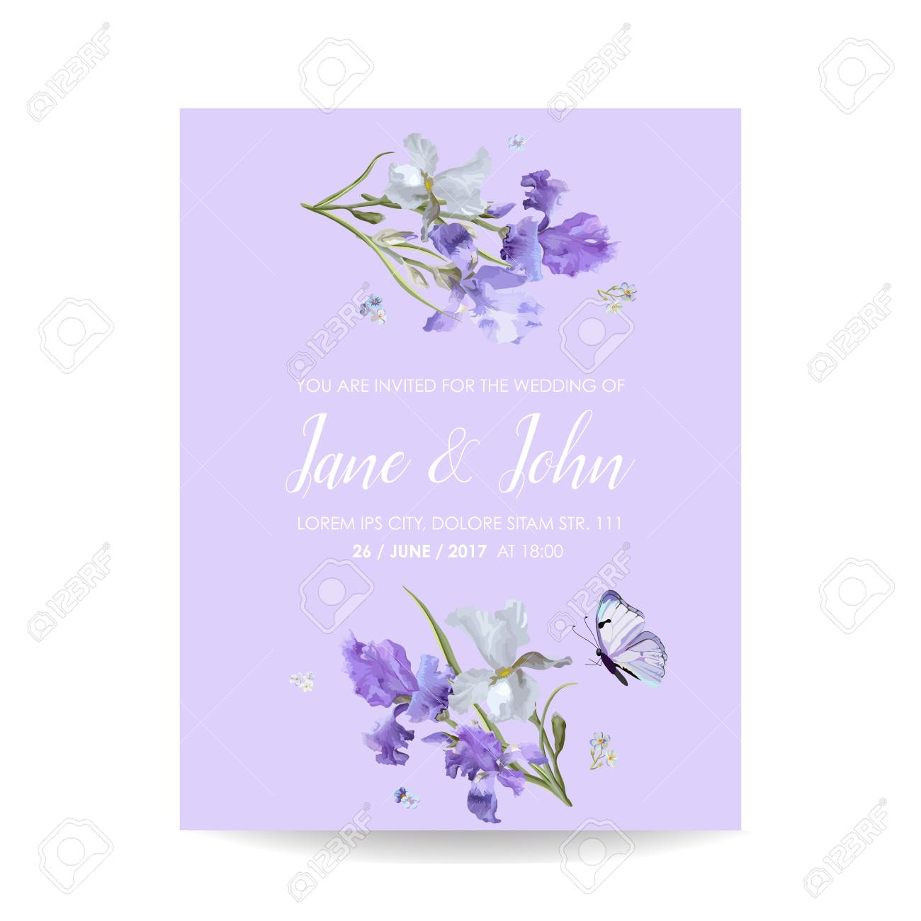 Save The Date Card With Iris Flowers And Butterflies Floral
