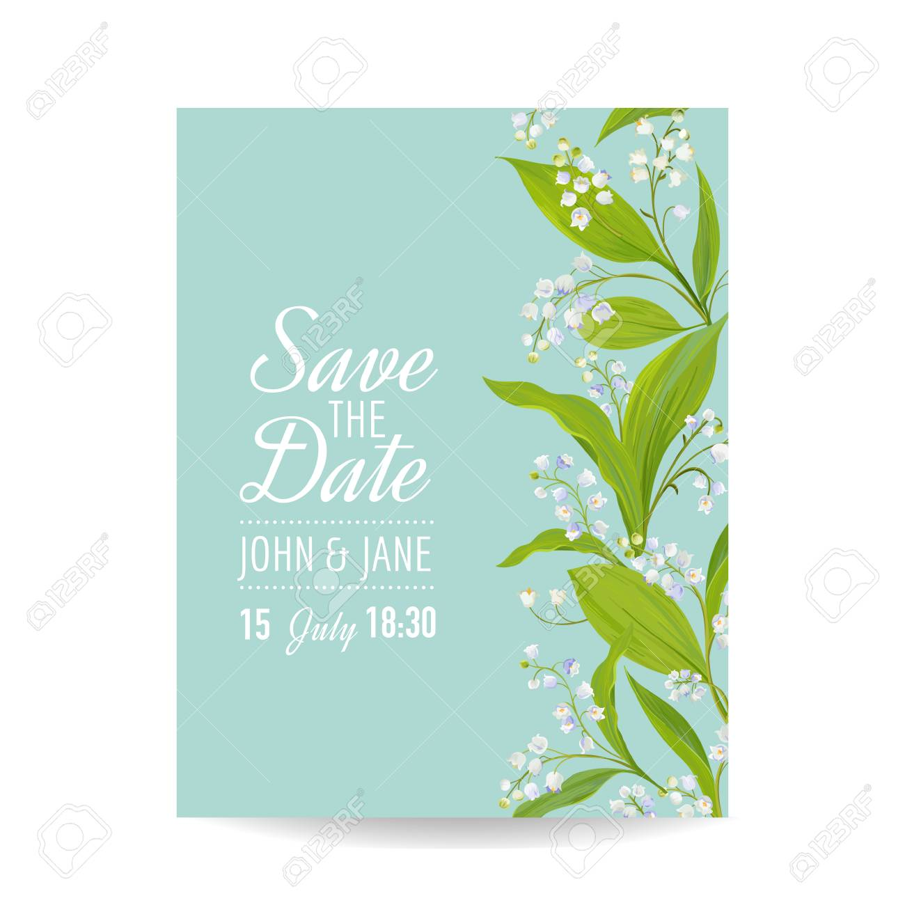 Floral Wedding Invitation Template With Spring Lily Of The Valley ...