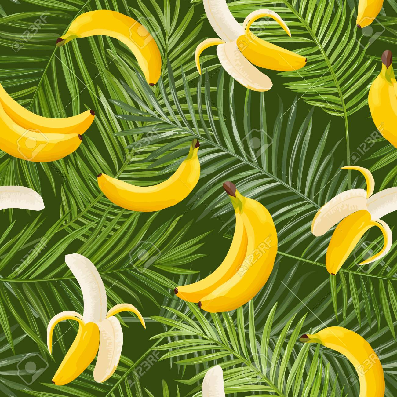 Tropical Seamless Pattern With Banana And Palm Leaves Summer