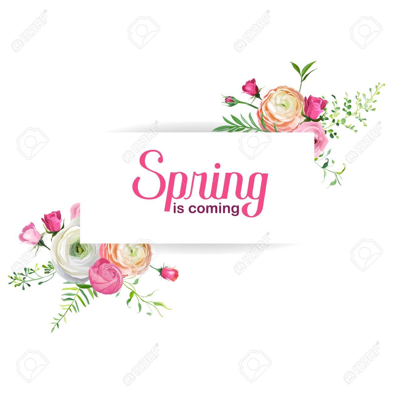 Hello Spring Floral Card For Holidays Decoration Wedding Invitation