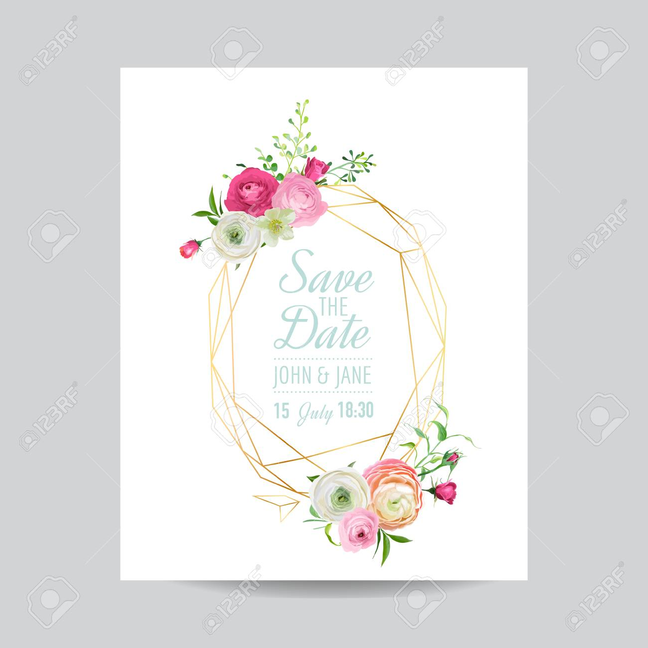Wedding Invitation Floral Template Save The Date Golden Frame - Save the date text template