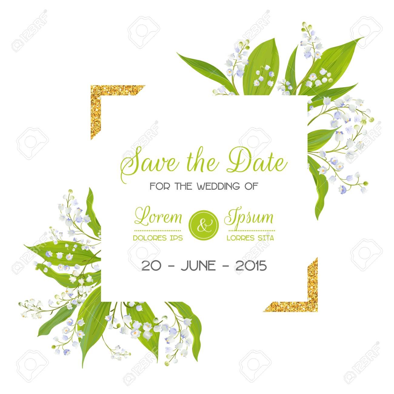 Save The Date Card With Blossom Lily Valley Flowers And Golden ...